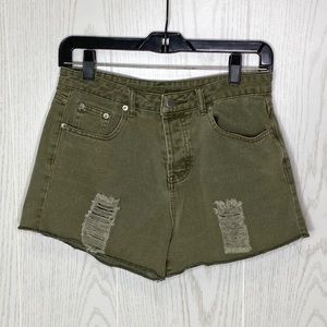 American Threads Distressed Green Shorts Size M